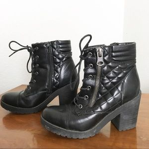 Rampage Heeled Quilted Combat Booties